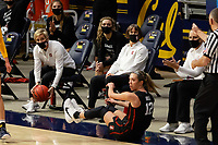BERKELEY, CA - DECEMBER 13: Associate head coach Kate Paye and head coach Tara VanDerveer of the Stanford Cardinal react after a play during a game between University of California-Berkeley and Stanford Women's Basketball at Haas Pavilion on December 13, 2020 in Berkeley, California.