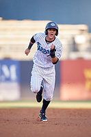 Tampa Tarpons right fielder Pablo Olivares (16) runs the bases during a game against the Daytona Tortugas on April 18, 2018 at George M. Steinbrenner Field in Tampa, Florida.  Tampa defeated Daytona 12-0.  (Mike Janes/Four Seam Images)
