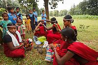 Muria girls prepare themselves to the deer horn dance in Chhattisgarth india