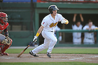 Burlington Bees Jared Walsh (21) swings during the Midwest League game against the Peoria Chiefs at Community Field on June 9, 2016 in Burlington, Iowa.  Peoria won 6-4.  (Dennis Hubbard/Four Seam Images)