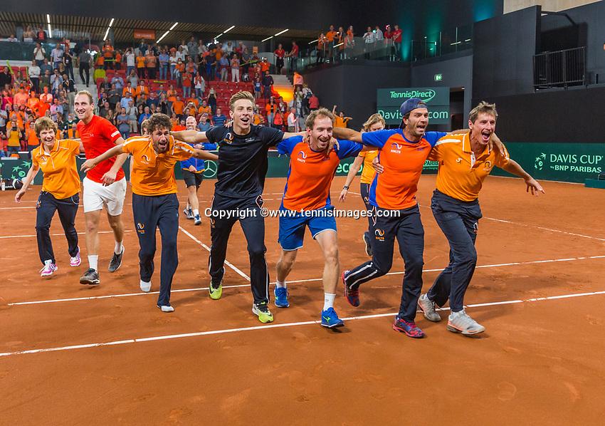 The Hague, The Netherlands, September 17, 2017,  Sportcampus , Davis Cup Netherlands - Chech Republic, Fifth match : Dutch team celebrating<br /> Photo: Tennisimages/Henk Koster
