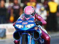 May 17, 2014; Commerce, GA, USA; NHRA pro stock motorcycle rider Angie Smith during qualifying for the Southern Nationals at Atlanta Dragway. Mandatory Credit: Mark J. Rebilas-USA TODAY Sports