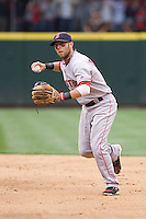 July 23, 2008: Boston Red Sox second baseman Dustin Pedroia makes a throw to first base against the Seattle Mariners at Safeco Field in Seattle, Washington.