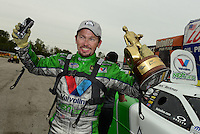 Sept. 30, 2012; Madison, IL, USA: NHRA funny car driver Jack Beckman celebrates after winning the Midwest Nationals at Gateway Motorsports Park. Mandatory Credit: Mark J. Rebilas-