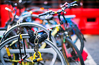 NEW YORK, NY - OCTOBER 15: Locks for bicycles are seen at Times Square on October 15, 2020 in New York, At least 4,477 bicycles have been reported stolen with an increase of 27 percent from same period last year, according to the police. (Photo by Eduardo MunozAlvarez/VIEWpress)