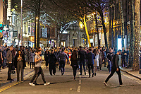 Pictured: Revellers in Wind Street, Swansea. Monday 31 December 2018 and Tuesday 01 January 2019<br /> Re: New Year revellers in Wind Street, Swansea, Wales, UK