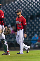 Fort Wayne TinCaps manager Anthony Contreras (10) walks towards the mound during a Midwest League game against the Fort Wayne TinCaps at Parkview Field on April 30, 2019 in Fort Wayne, Indiana. Kane County defeated Fort Wayne 7-4. (Zachary Lucy/Four Seam Images)
