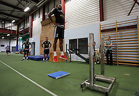 STUART JAMES STORY<br /> Pictured: Kyle Bartley is being assessed Tuesday 30 June 2015<br /> Re: Pre-season assessment of Swansea City FC players on the grounds of Swansea University, south Wales, UK
