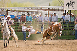A saddle bronc rider dives to the dirt after being bucked off his mount at the Jordan Valley Big Loop Rodeo, Ore.