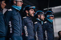 Alejandro Valverde (ESP/Movistar) & teammates on the start podium before the race<br /> <br /> 73rd Dwars Door Vlaanderen 2018 (1.UWT)<br /> Roeselare - Waregem (BEL): 180km
