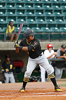Bristol Pirates designated hitter Mikell Granberry (7) at bat during a game against the Greeneville Reds at Pioneer Field on June 20, 2018 in Greeneville, Tennessee. Bristol defeated Greeneville 11-0. (Robert Gurganus/Four Seam Images)