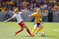 Sandy, UT - Saturday April 14, 2018: Alyssa Mautz and Becky Sauerbrunn during a regular season National Women's Soccer League (NWSL) match between the Utah Royals FC and the Chicago Red Stars at Rio Tinto Stadium.