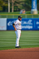 Michael Stefanic (5) of the Salt Lake Bees during the game against the Sacramento River Cats at Smith's Ballpark on August 16, 2021 in Salt Lake City, Utah. The Bees defeated the River Cats 6-0. (Stephen Smith/Four Seam Images)