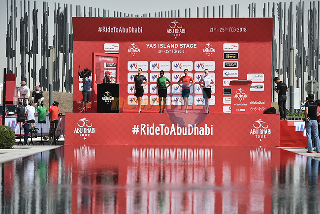 The leaders jerseys on show at sign on before the start of Stage 2 of the 2018 Abu Dhabi Tour, Yas Island Stage running 154km from Yas Mall to Yas Beach, Abu Dhabi, United Arab Emirates. 22nd February 2018.<br /> Picture: LaPresse/Massimo Paolone   Cyclefile<br /> <br /> <br /> All photos usage must carry mandatory copyright credit (© Cyclefile   LaPresse/Massimo Paolone)