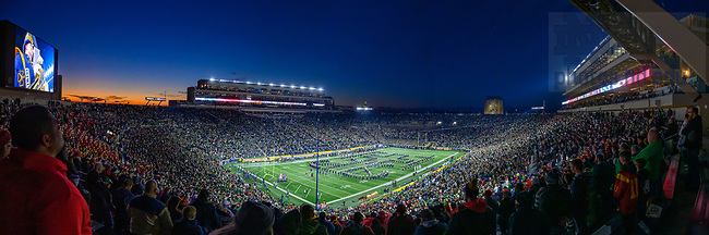 October 23, 2021; Panorama of Notre Dame Stadium during the national anthem on a football game day, 2021. (photo by Matt Cashore)