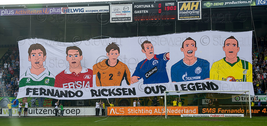 Fernando Ricksen Testimonial :  A banner displayed before the match from the stand that will be renamed in his honour.