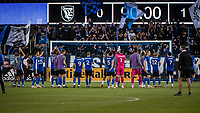 SAN JOSE, CA - MAY 12: San Jose Earthquakes players acknowledge their fans after a game between San Jose Earthquakes and Seattle Sounders FC at PayPal Park on May 12, 2021 in San Jose, California.