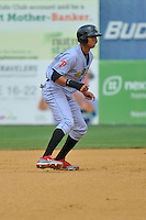 Aaron Altharr of the Reading Fightin Phils leads off second base during a game against the New Britain Rock Cats at New Britain Stadium on July 13, 2014 in New Britain, Connecticut. Reading defeated New Britain 6-4.  (Gregory Vasil/Four Seam Images)