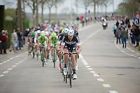 Guillaume Van Keirsbulck (BEL/OPQS) keeping up the tempo in the peloton (and even stretching it...)<br /> <br /> Ronde van Vlaanderen 2014