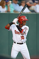 Harrisburg Senators shortstop Osvaldo Abreu (10) on deck during a game against the Bowie Baysox on May 16, 2017 at FNB Field in Harrisburg, Pennsylvania.  Bowie defeated Harrisburg 6-4.  (Mike Janes/Four Seam Images)