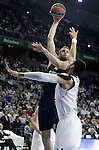 Real Madrid's Gustavo Ayon (r) and Alba Berlin's Jonas Wohlfarth during Euroleague match.March 12,2015. (ALTERPHOTOS/Acero)