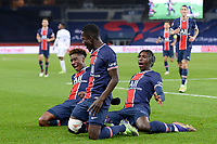 24th December 2020; Paris, France; French League 1 football, Paris St Germain versus Strasbourg;  Goal celebration from IDRISSA GUEYE PSG - BIOTY MOISE KEAN PSG