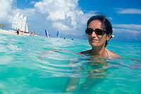 Woman bathing in the beautiful waters at Cayo Santa-Maria, Cuba.