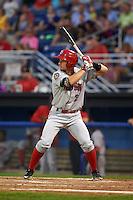 Auburn Doubledays outfielder Rhett Wiseman (2) at bat during a game against the Batavia Muckdogs on September 5, 2015 at Dwyer Stadium in Batavia, New York.  Batavia defeated Auburn 6-3.  (Mike Janes/Four Seam Images)