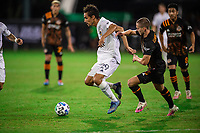 LAKE BUENA VISTA, FL - JULY 23: Ethan Zubak #29 of the LA Galaxy dribbles the ball during a game between Los Angeles Galaxy and Houston Dynamo at ESPN Wide World of Sports on July 23, 2020 in Lake Buena Vista, Florida.