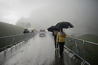 Team LottoNL-Jumbo soigneurs arriving on top of the Col de Joux Plane (HC/1691m/11.6km/8.5%) ahead of the riders, so to assist them when needed<br /> <br /> Stage 20: Megève › Morzine (146.5km)<br /> 103rd Tour de France 2016