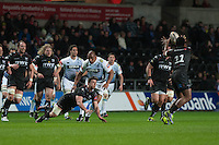 Friday 21 March 2014<br /> Pictured: Sam Lewis throws the ball out to Aisea Natoga Of the Ospreys<br /> Re: Rabo Direct PRO12 Match Ospreys vs Cardiff Blues at the Liberty Stadium, Swansea, Wales