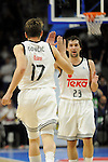 Real Madrid´s Luka Doncic and Sergio Llull during 2014-15 Liga Endesa match between Real Madrid and Unicaja at Palacio de los Deportes stadium in Madrid, Spain. April 30, 2015. (ALTERPHOTOS/Luis Fernandez)