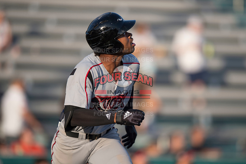 Lake Elsinore Storm left fielder Buddy Reed (23) hustles down the first base line during a California League game against the Modesto Nuts at John Thurman Field on May 11, 2018 in Modesto, California. Modesto defeated Lake Elsinore 3-1. (Zachary Lucy/Four Seam Images)