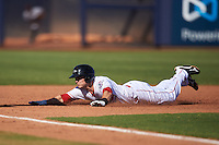 Peoria Javelinas Zach Vincej (3), of the Cincinnati Reds organization, dives head first into third base during a game against the Scottsdale Scorpions on October 22, 2016 at Peoria Stadium in Peoria, Arizona.  Peoria defeated Scottsdale 3-2.  (Mike Janes/Four Seam Images)