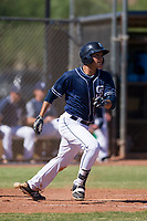 San Diego Padres outfielder Agustin Ruiz (68) starts down the first base line during an Instructional League game against the Texas Rangers on September 20, 2017 at Peoria Sports Complex in Peoria, Arizona. (Zachary Lucy/Four Seam Images)