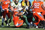 Sam Houston State Bearkats linebacker Darius Taylor (36) and North Dakota State Bison running back John Crockett (23) in action during the FCS Championship game between the North Dakota State Bison and the Sam Houston State Bearkats at the FC Dallas Stadium in Frisco, Texas. North Dakota defeats Sam Houston 39 to 13..