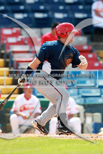 Washington Nationals minor league first baseman Russ Moldenhauer (15) during a game vs. the Chinese National Team in an Instructional League game at Holman Stadium in Vero Beach, Florida September 30, 2010.   Photo By Mike Janes/Four Seam Images