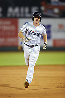 Jake Pries (36) of the Pulaski Yankees rounds the bases after hitting a home run during the game against the Burlington Royals at Calfee Park on August 31, 2019 in Pulaski, Virginia. The Yankees defeated the Royals 6-0. (Brian Westerholt/Four Seam Images)