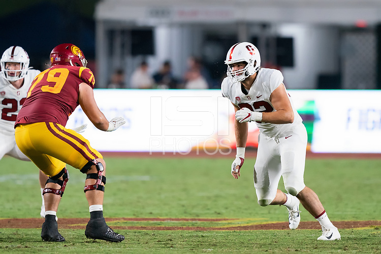 LOS ANGELES, CA - SEPTEMBER 11: Lance Keneley during a game between University of Southern California and Stanford Football at Los Angeles Memorial Coliseum on September 11, 2021 in Los Angeles, California.
