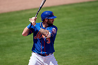 New York Mets Tomás Nido (3) bats during a Major League Spring Training game against the St. Louis Cardinals on March 19, 2021 at Clover Park in St. Lucie, Florida.  (Mike Janes/Four Seam Images)