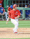 Los Angeles Angels Chris Ianetta (3) during a Spring Training game against the Chicago Cubs on February 28, 2014 at Cubs Park in Mesa, AZ. The Angels beat the Cubs 15-3.