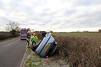 RTC involving a Ford Focus that has overturned and rolled onto its roof. This image may only be used to portray the subject in a positive manner..© shoutpictures.com.john@shoutpictures.com