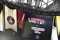 ATLANTA, GA - AUGUST 29: Mercedes Benz Stadium Halo Board during a game between Orlando City SC and Atlanta United FC at Marecedes-Benz Stadium on August 29, 2020 in Atlanta, Georgia.