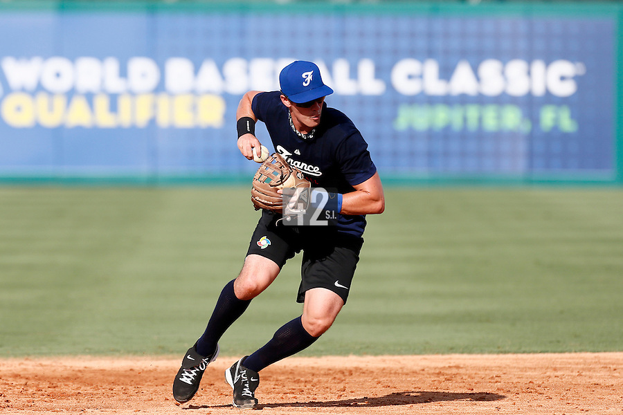 18 September 2012: France Emmanuel Garcia throws the ball to first base during Team France practice, at the 2012 World Baseball Classic Qualifier round, in Jupiter, Florida, USA.