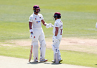 Emilio Gay (L) and Ricardo Vasconcelos of Northants meet for a discussion during Kent CCC vs Northamptonshire CCC, LV Insurance County Championship Group 3 Cricket at The Spitfire Ground on 3rd June 2021