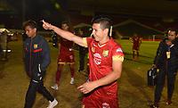TUNJA- COLOMBIA, 17-02-2018:Edson Vásquez jugador del Rionegro FC celebra el triunfo de su equipo 2 goles por uno como visitante contra Boyacá Chicó   durante el partido entre el Boyacá Chicó  y Rionegro por la fecha 4 de la Liga Águila II 2018 jugado en el estadio La Independencia. / Edson Vásquez player of Rionegro FC celebrates the triumph of his team 2 goals for one as a visitor against Boyacá Chicó during match between Boyaca Chico and Rionegro  for the date 4 of the Aguila League I 2018 played at La Independencia stadium. Photo: VizzorImage/ José Miguel Palencia / Contribuidor