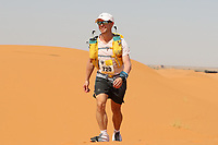 4th October 2021; Tisserdimine to Kourci Dial Zaid;  Marathon des Sables, stage 2 of  a six-day, 251 km ultramarathon, which is approximately the distance of six regular marathons. The longest single stage is 91 km long. This multiday race is held every year in southern Morocco, in the Sahara Desert. Ricky Thomas (GB) pounds the dunes