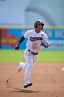 Somerset Patriots Oswald Peraza (30) running the bases during a game against the Hartford Yard Goats on September 12, 2021 at TD Bank Ballpark in Bridgewater, New Jersey.  (Mike Janes/Four Seam Images)