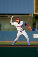 Mahoning Valley Scrappers second baseman Aaron Bracho (12) throws to first base during a NY-Penn League game against the State College Spikes on August 29, 2019 at Eastwood Field in Niles, Ohio.  State College defeated Mahoning Valley 8-1.  (Mike Janes/Four Seam Images)