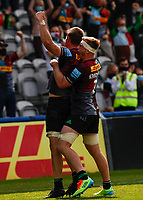 29th May 2021; Twickenham Stoop, London, England; English Premiership Rugby, Harlequins versus Bath; Kenningham  and Lewie of Harlequins celebrate together after scoring their try